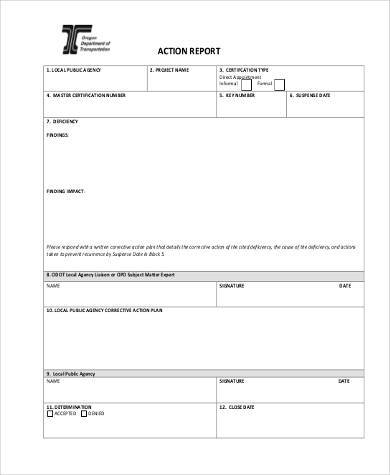 contract action report form