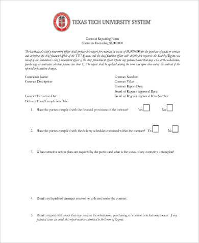 contract action report form1