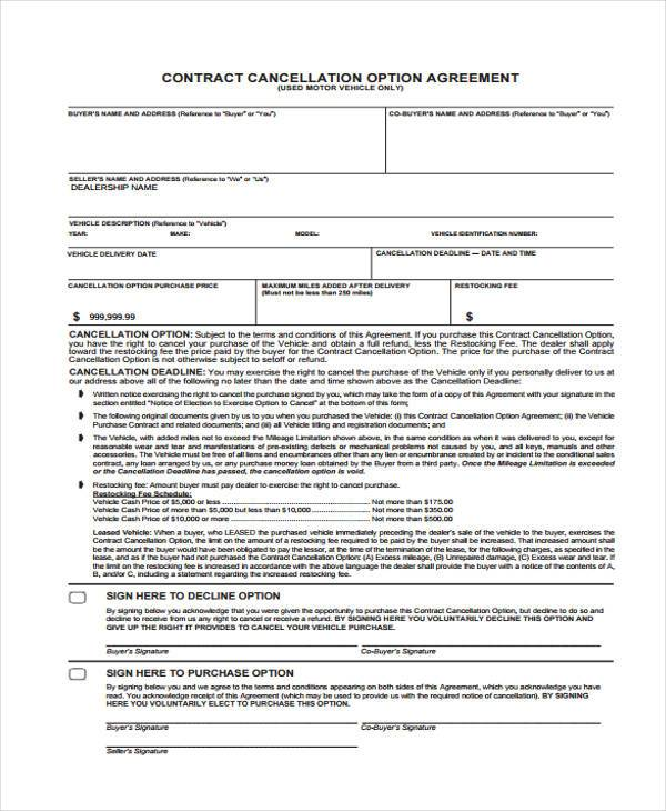 contract cancellation option form