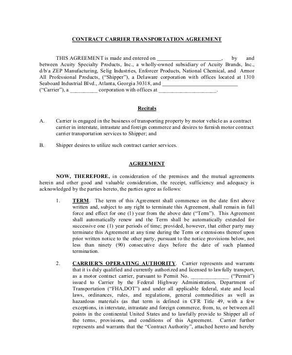 contract carrier transportation agreement
