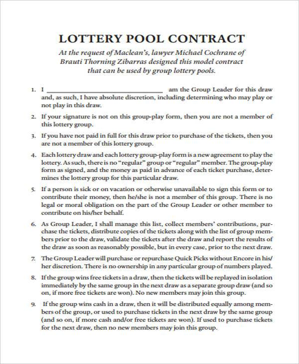 contract lottery syndicate agreement form