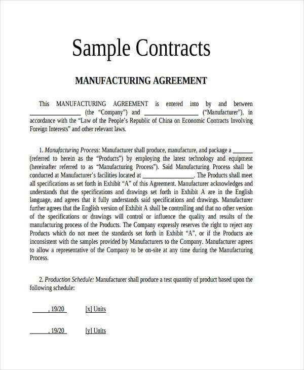 Contract Manufacturing Agreement Format