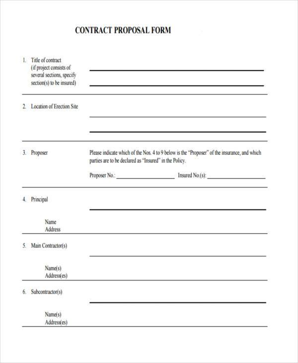 7+ Contract Proposal Form Samples - Free Sample, Example Format