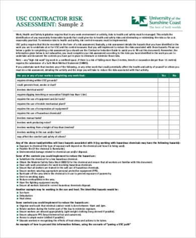 contract risk assessment worksheet