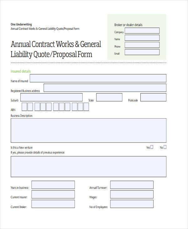 FREE 38+ Sample Blank Proposal Forms In PDF