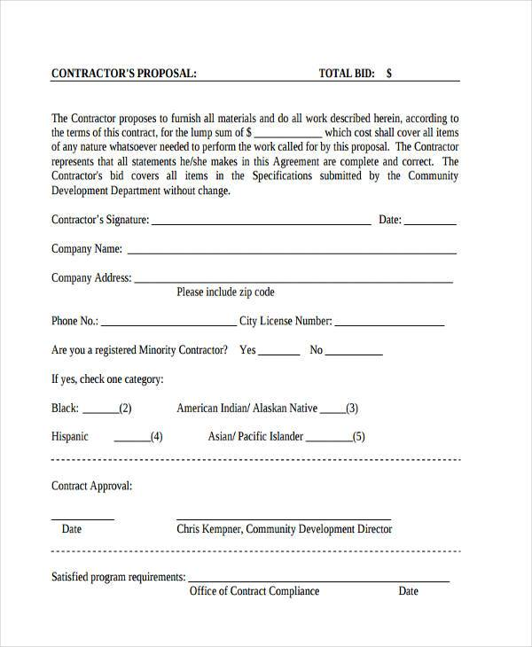 contractor bid proposal form