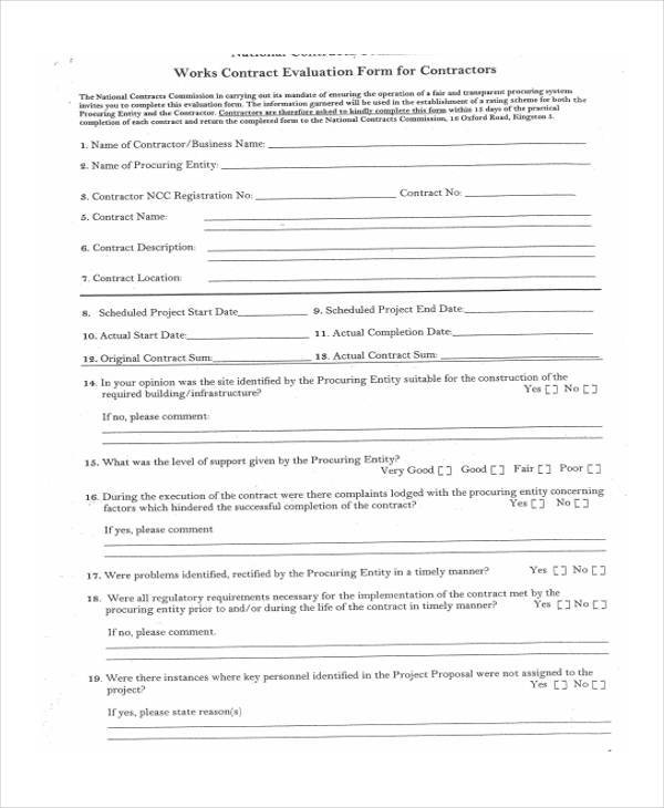 contractor evaluation form format