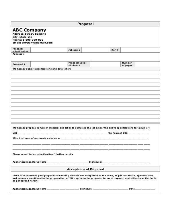 Contractor-Job-Proposal-Form Plumbing Job Application Form Sample on resume format for, writing email for, quad graphics, letters introduction for, perfect completed,