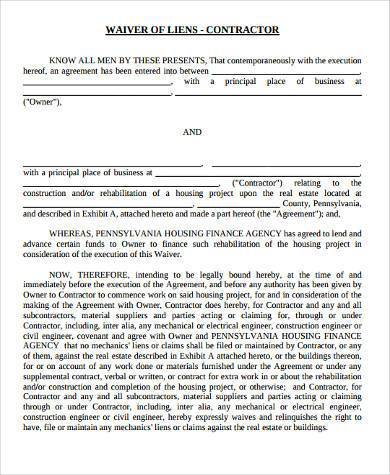 Sample Lien Waiver Forms