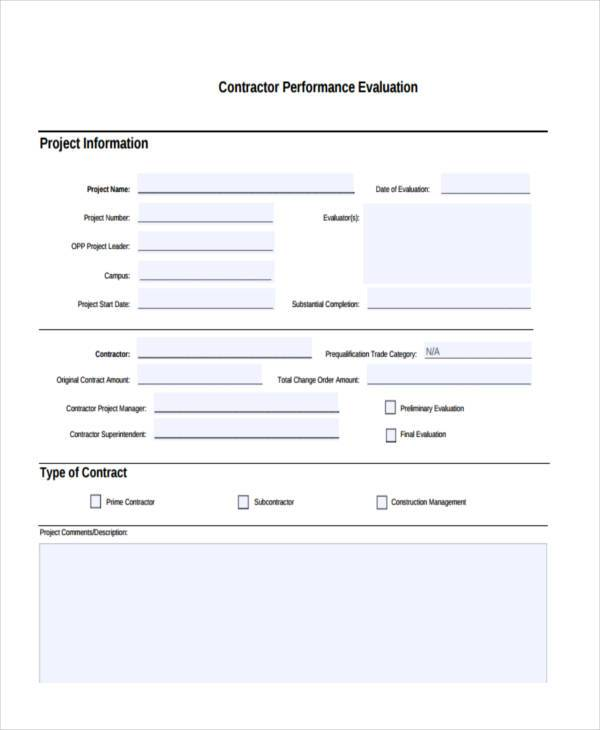 Sample Contractor Evaluation Forms 8 Free Documents In