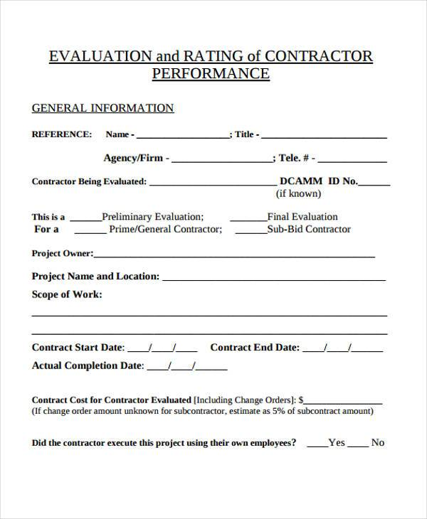 Contractor Evaluation Form Samples  Free Sample Example