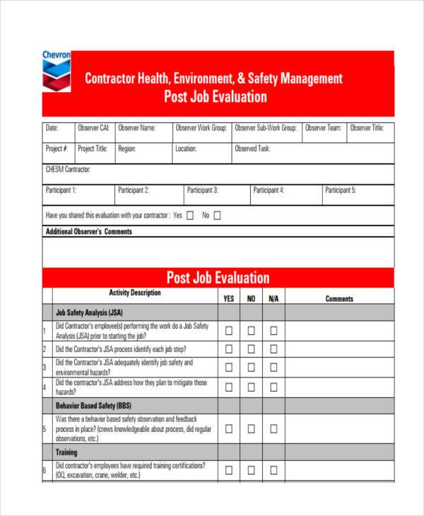 contractor post job evaluation form
