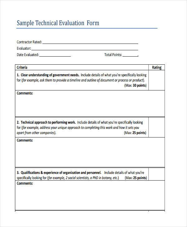 Sample Contractor Evaluation Forms - 8+ Free Documents in Word, PDF