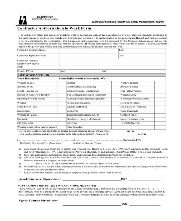 contractor work authorization form
