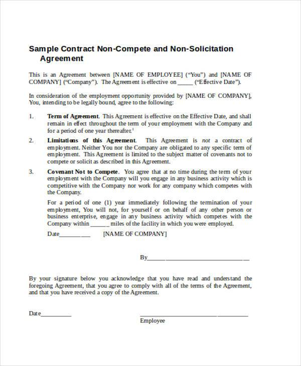 contracts non compete agreement form