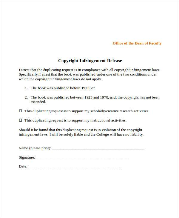 copyright infringement release form1