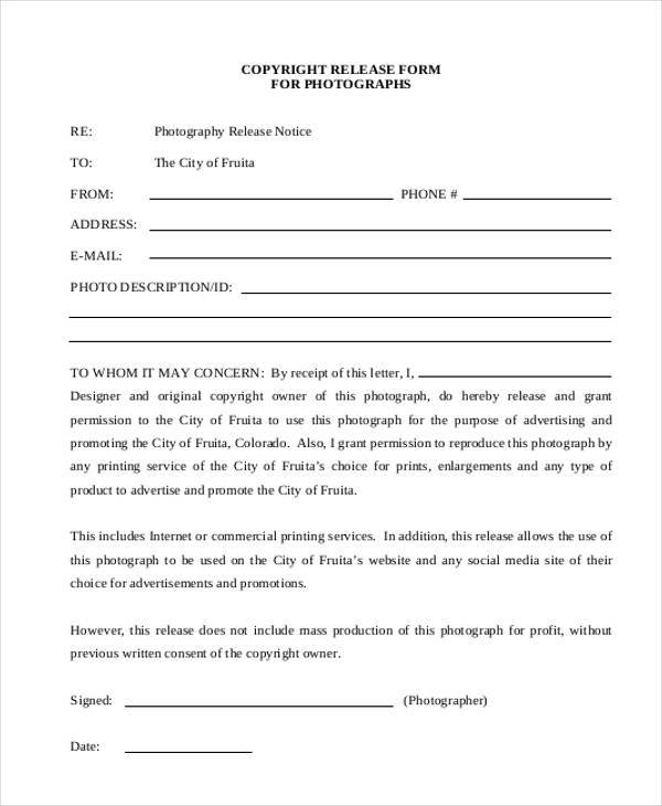 Generic release forms copyright photography release form1 thecheapjerseys Choice Image