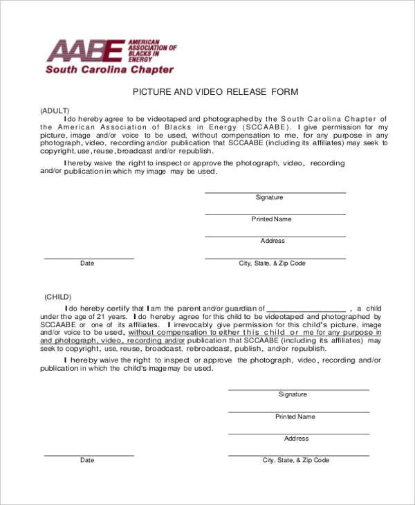 copyright picture release form