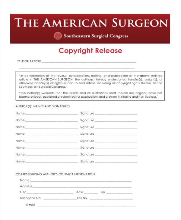 copyright release form pdf