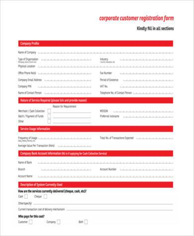 corporate customer registration form