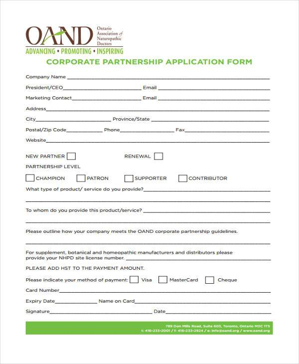 corporate partnership application form