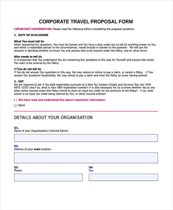 corporate travel proposal form example