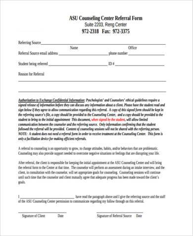 counseling center referral form