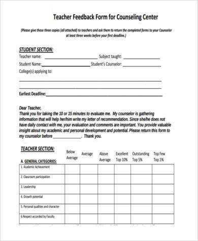 counseling feedback form example