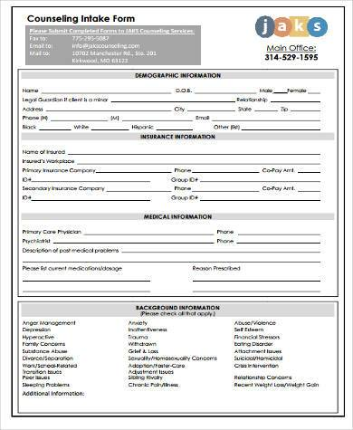 counseling initial intake form