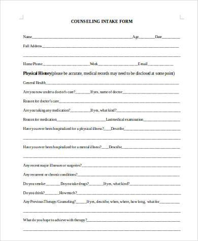 counseling intake form in doc