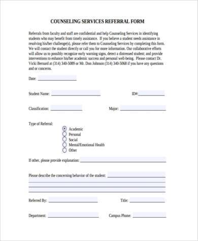 counseling referral form example