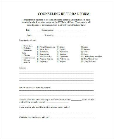 counseling referral form in word format