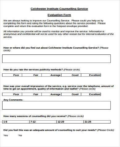 counselling service evaluation form