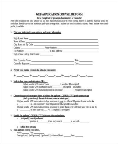 counselor application form example