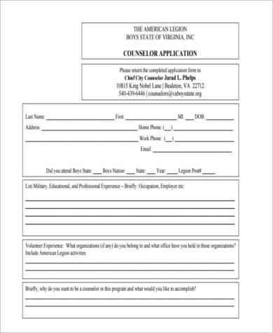 counselor application form in pdf