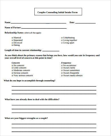 couple counseling intake form pdf