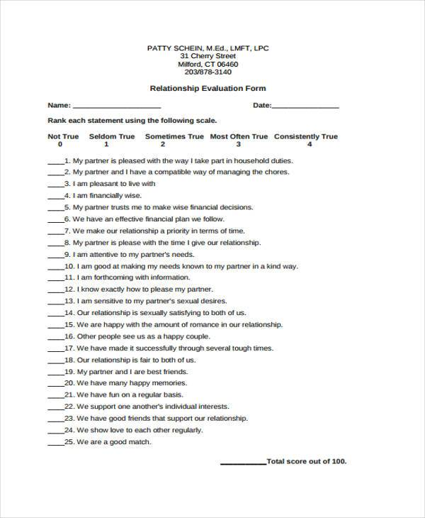 Relationship Evaluation Form Samples  Free Sample Example