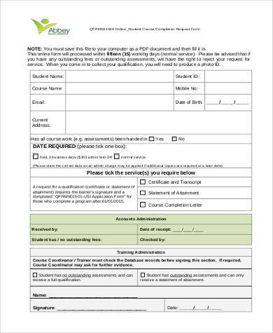 course completion request form