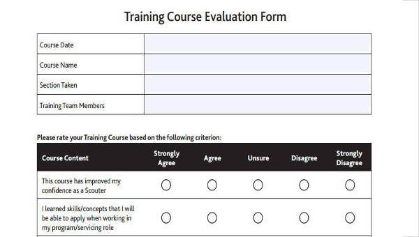 8 course evaluation form samples free sample example format download