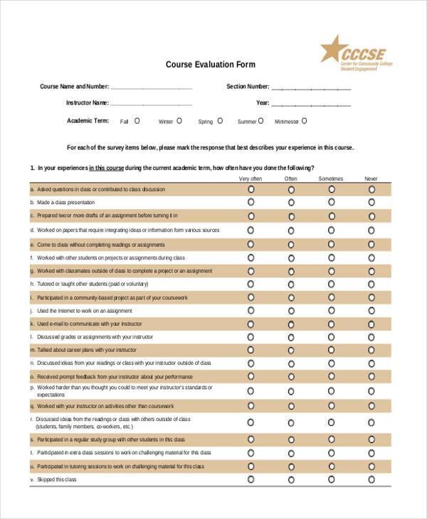 Evaluation Form Templates – Course Evaluation Template