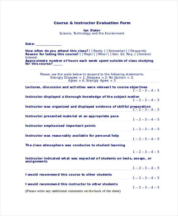 course instructor evaluation form1