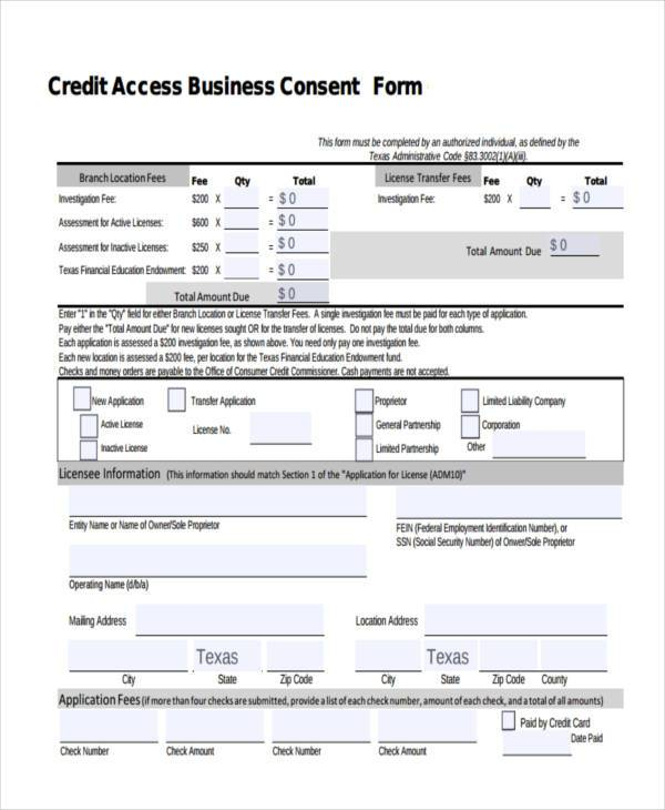 credit access business consent form