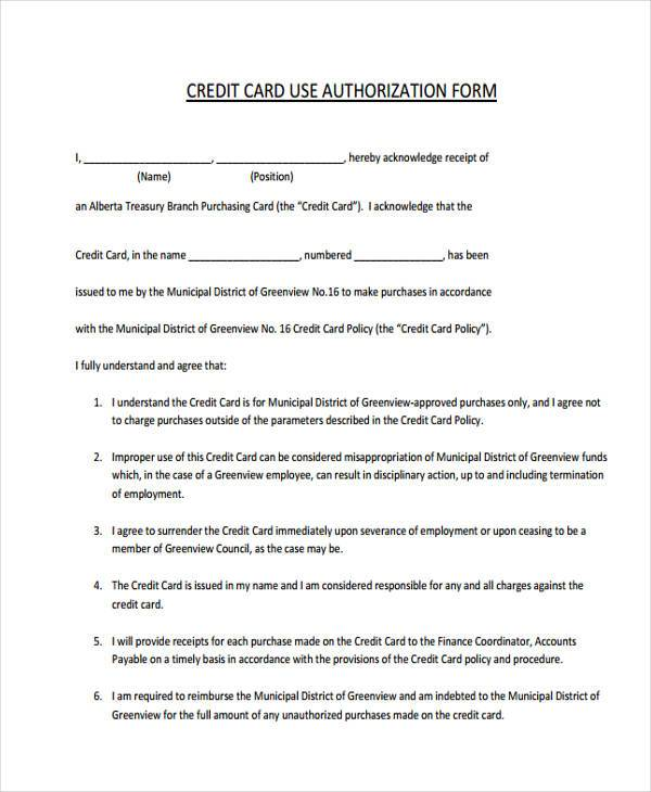 credit card employment authorization form