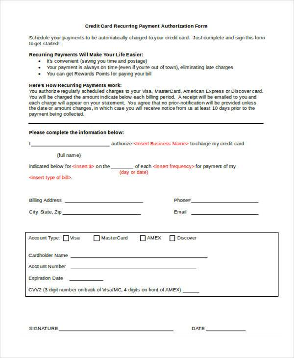 credit card recurring payment authorization form1