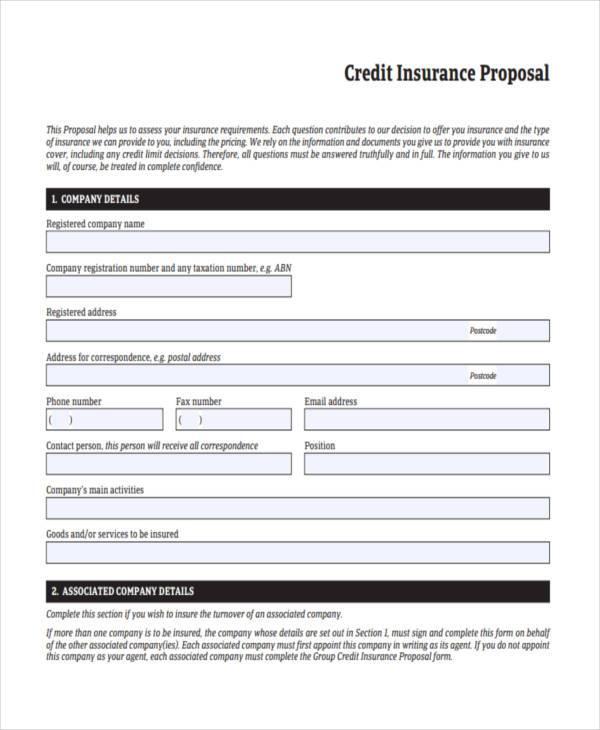 credit insurance proposal form