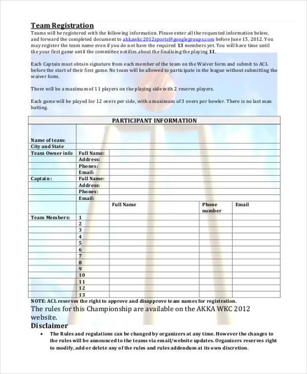 cricket team registration form