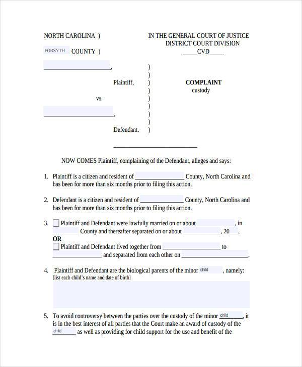 Agreement Form Examples Custody Agreement Form Example Sample