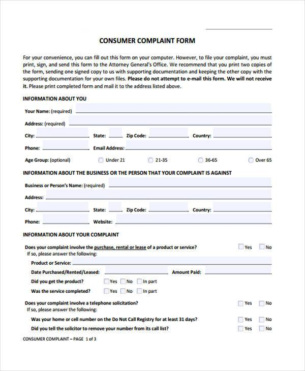 Etonnant Customer Complaint Form Sample