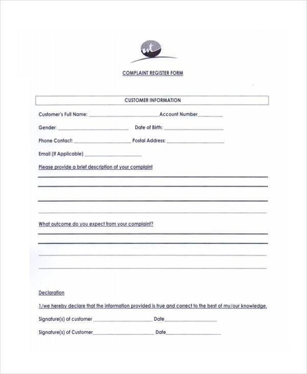customer complaint register form1