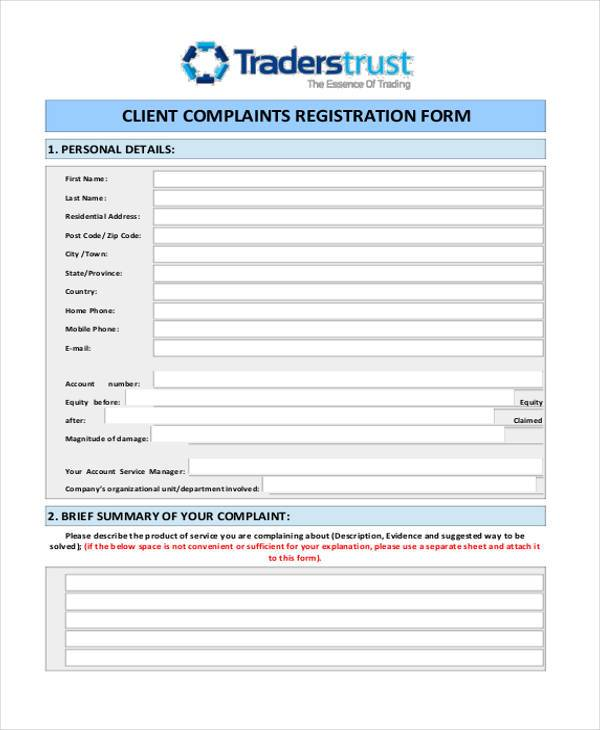 6 Customer Registration Form Samples Free Sample Example – Customer Complaint Form Examples